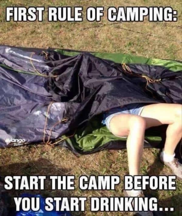 man stuck in tent