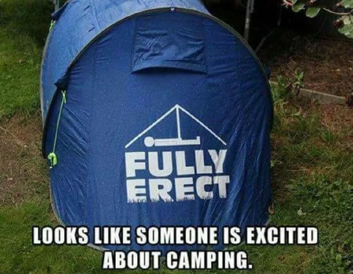 fully erect tent