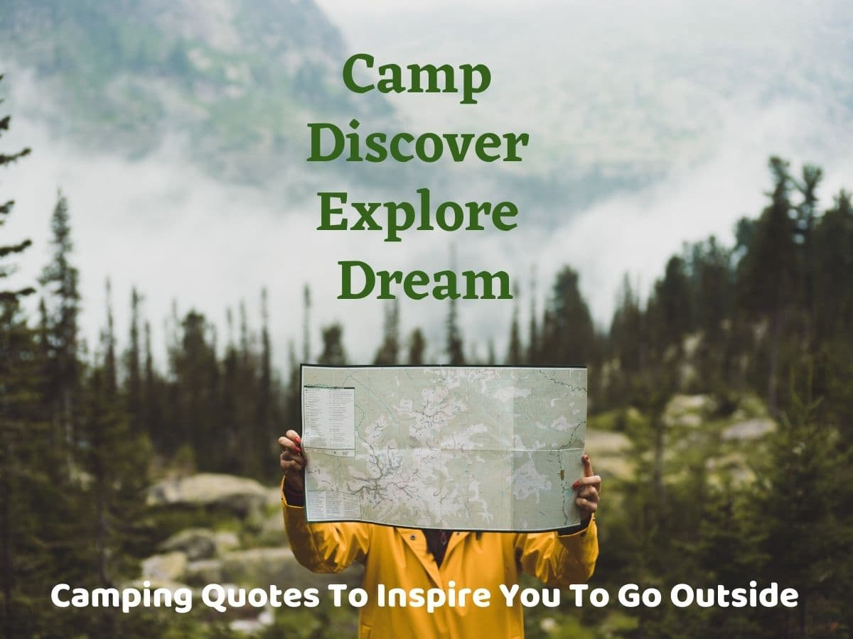 outdoor woman holding map in forest - camping quotes