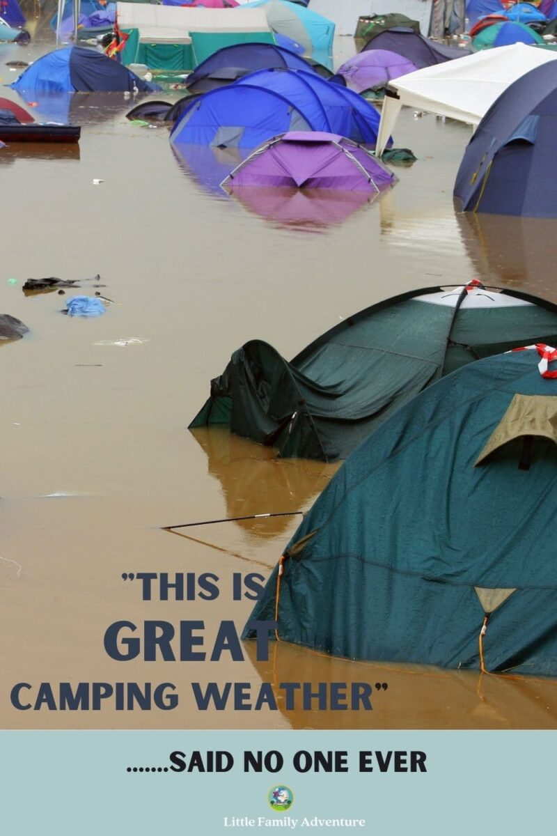 campground with tents underwater