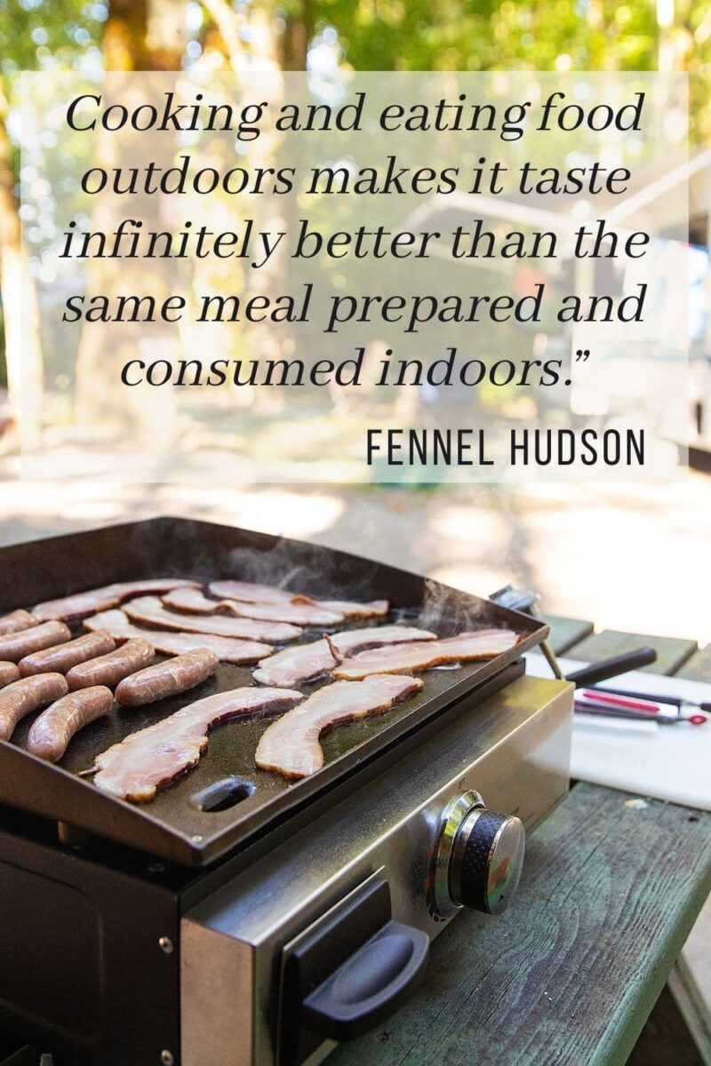 flattop griddle cooking outdoors - camping quote