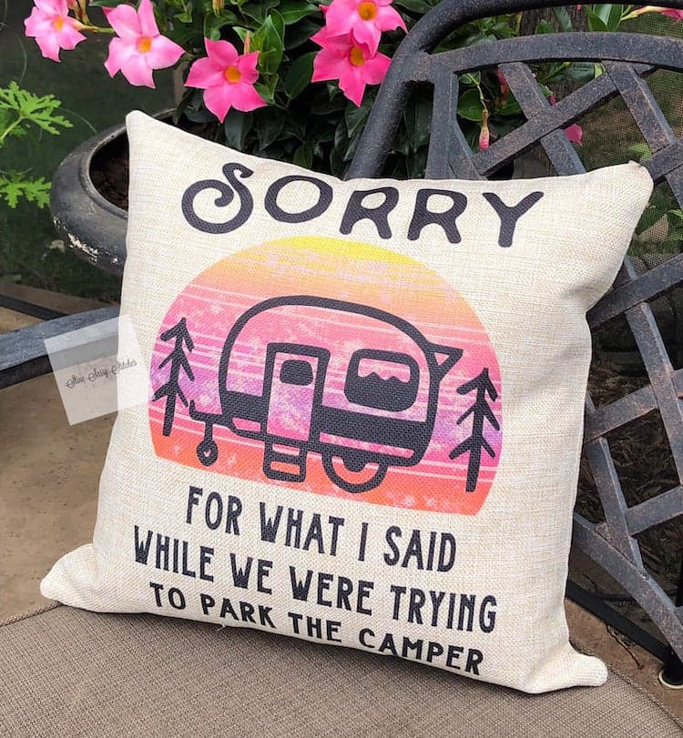 pillow with rv and quote