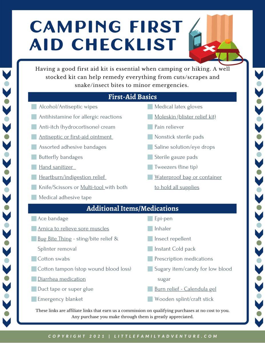 camping first aid checklist