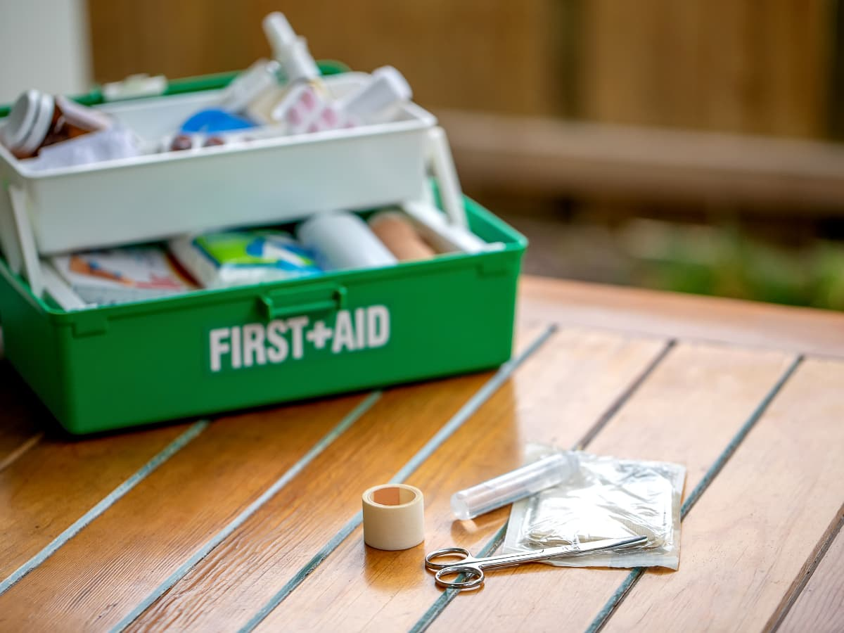 DIY First aid kit in tackle box
