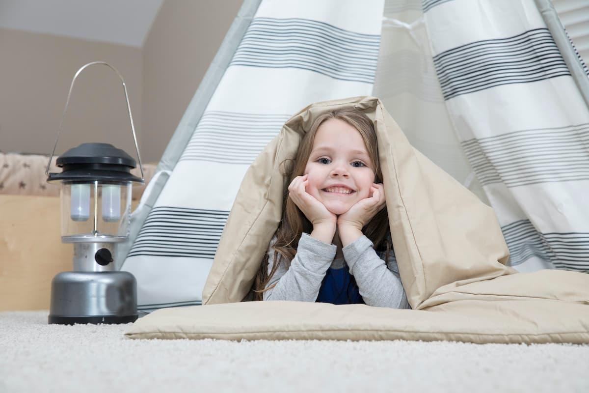 girl indoor camping