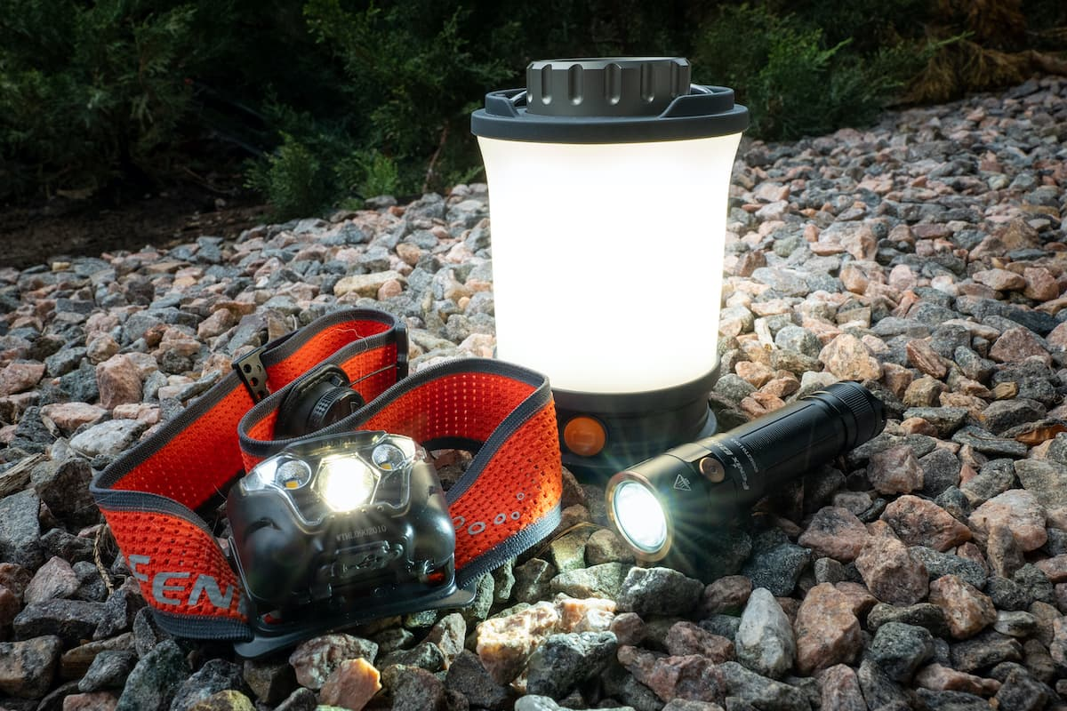 camp lighting, rocky riverbed