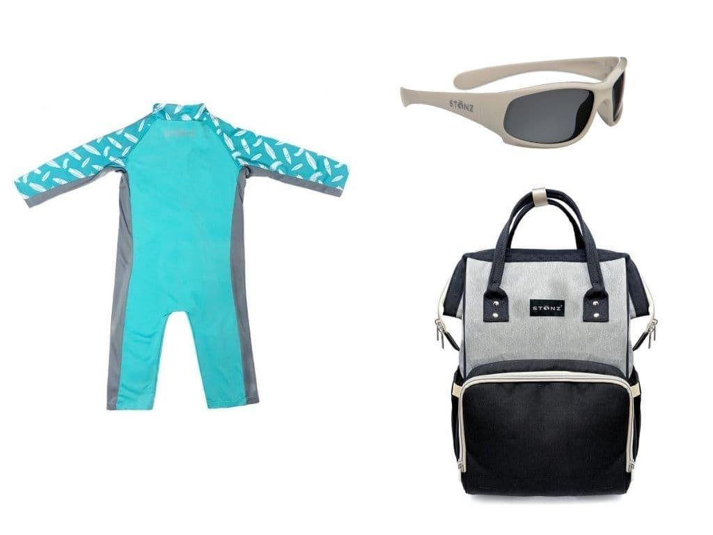 sun suit, sunglasses, diaper bag