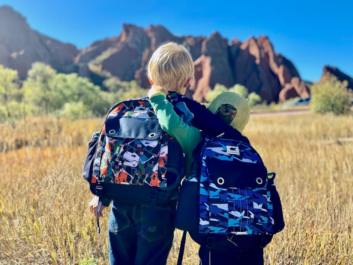 kids in mounatins, backpacks