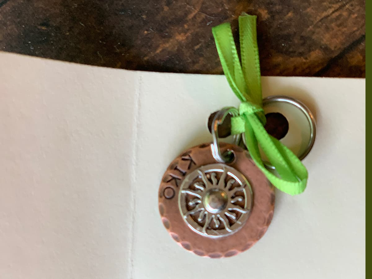 stamped copper pet id tag