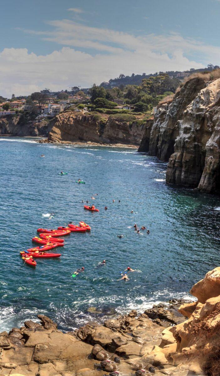 La Jolla Cove cliffs and kayaks