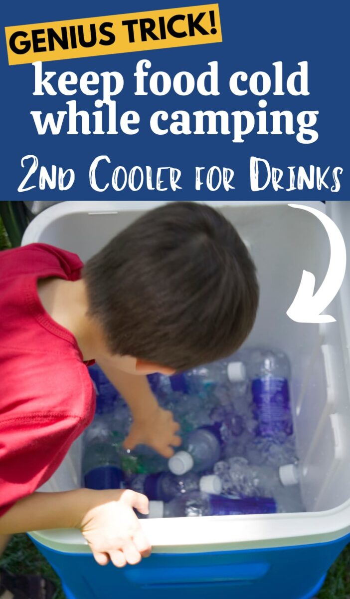 boy reaching in ice cooler with water bottles