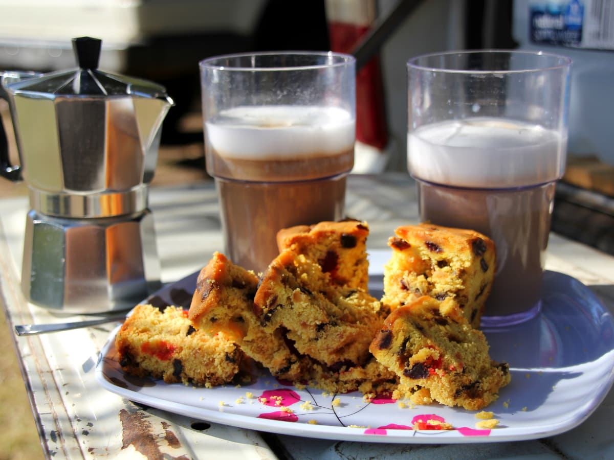 baked goods and coffee outdoors