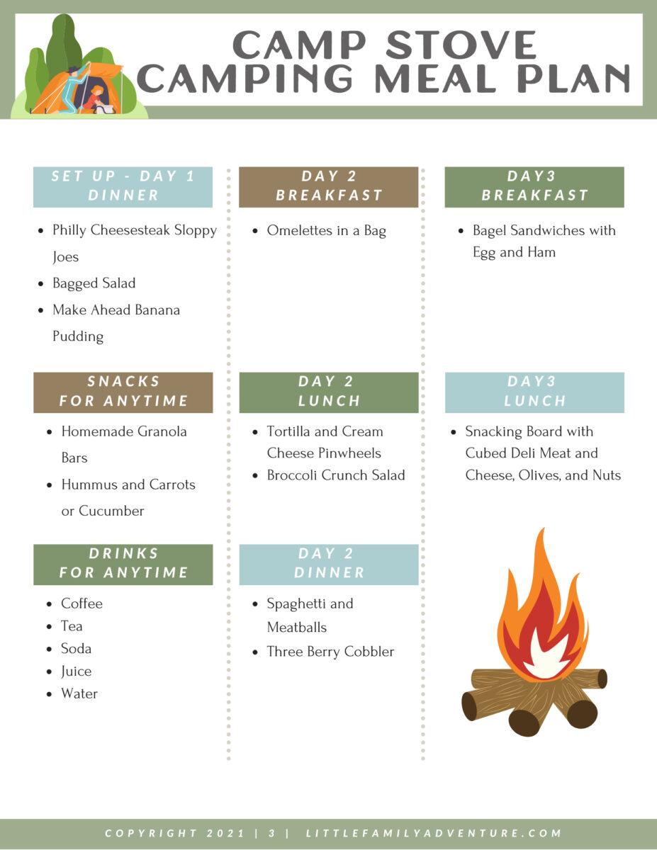 weekend camp menu