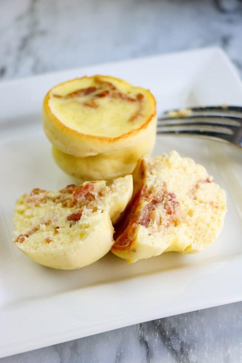 egg bites on plate with fork