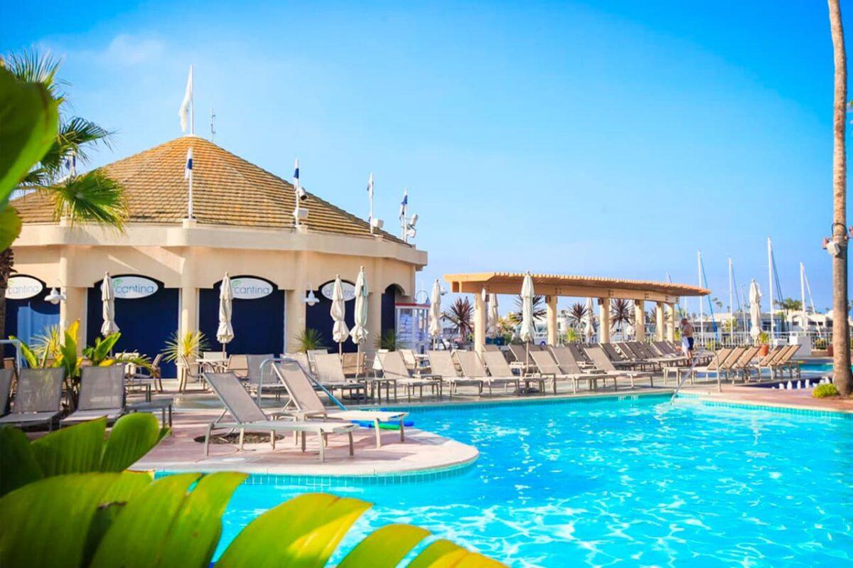 resort pool and cabanas