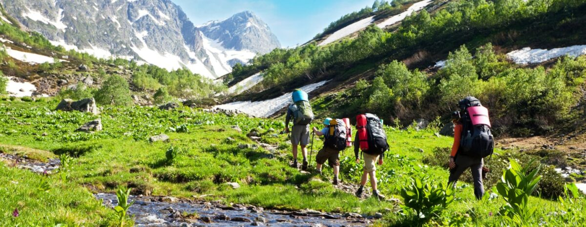 hikers in mountains