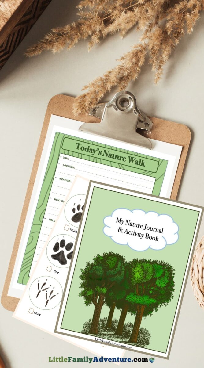 nature journal pages on clipboard